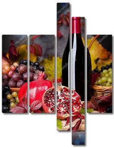Натюрморт с вином и гранатами