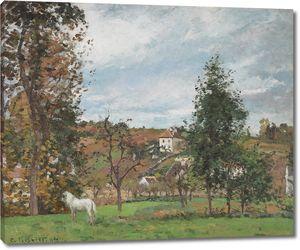 Камиль Писсарро. Пейзаж с белой лошадью на лугу