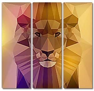 Голова льва геометрическими фигурами