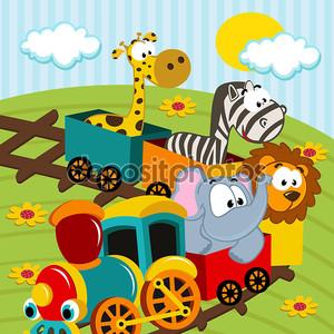животных поезд вектор