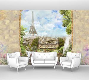 Вид на Париж с Эйфелевой башни из сада с водопадом