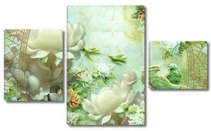 Малахитовые цветы и птицы