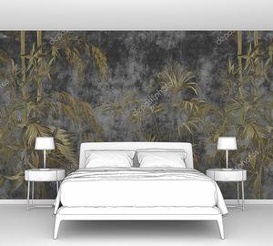 Экзотические листья и цветына бетонной гранж-стене