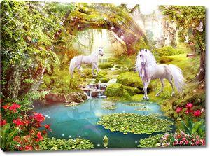 Единороги на озере в сказочном лесу