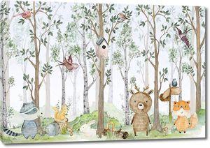 Акварель с животными в лесу