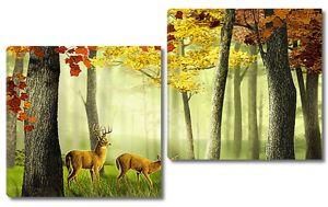Осенний лес с оленями