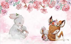 Зайчата с олененком