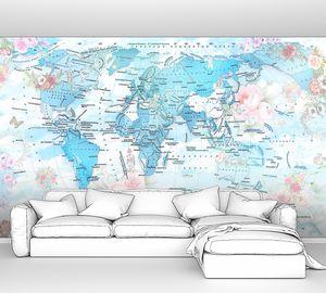 Карта континентов в голубом