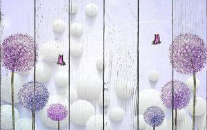 Белые шары, разноцветные одуванчики, две летающие бабочки