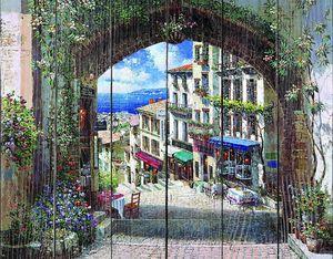 Проход через арку в солнечный город