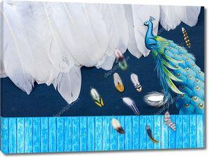 Сине-зеленый павлин на заборе