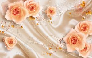 Оранжевые розы на фоне ткани