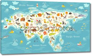 Animals world map, Eurasia
