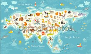 Animals world map, Eurasia