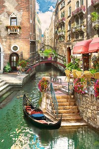 Красочная картина с летней Венецией