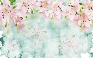 Лилии на фоне голубой штукатурки