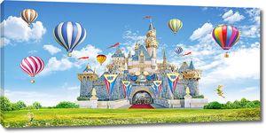 Красочный замок с воздушными шарами