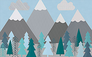 Аппликационные горы и елки