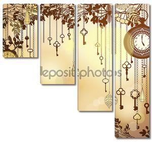 Античная Золотой фон с часы и ключи