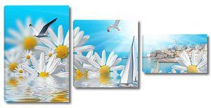 Картинка с большими ромашками и лодкой
