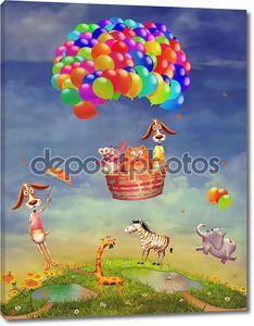 Животные на поле и в воздушный шар в небе