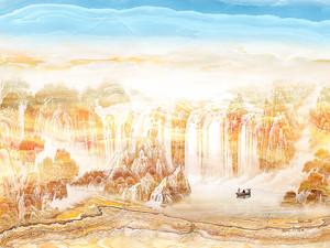 Лодка в водах водопада