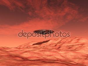 Инопланетный космический корабль на Марс
