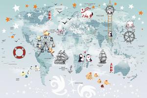 Карта с парусниками и штурвалами