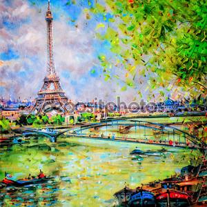 Красочная картина Эйфелевой башни в Париже