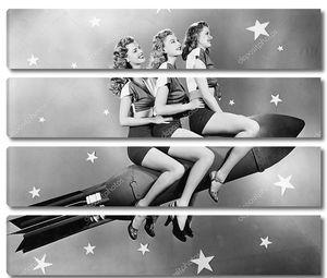 Три женщины, сидя на ракете