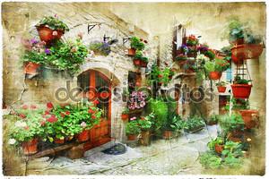 Цветочные улицы Спелло, Умбрия, Италия. Художественная фотография