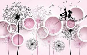 Белые кольца, одуванчики с летающими семенами, силуэт мальчика и девочки на велосипеде