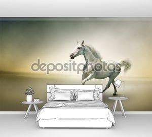 Белая лошадь в движении галопом