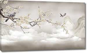 Облака и птицы на ветке