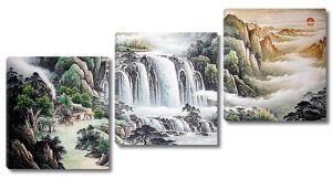Водопад с высоких скал