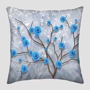Мраморный фон, синие бутоны роз