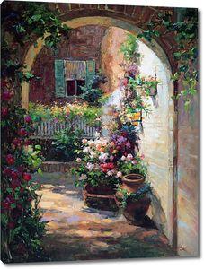 Вид через арку на красивый сад