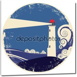 Lighhouse в морской пейзаж.Векторные винтажные иллюстрации