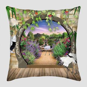 Терраса в саду, цапли, вид на парк через арку