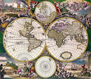Старая карта с красочными изображениями