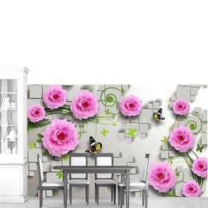 Розовые цветы, бабочки на плитке
