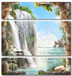 Неверояный вид на водопад и скалы