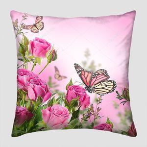 Букет нежный розы и бабочки