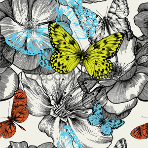 бесшовный фон с цветущих роз и летающих бабочек Хань