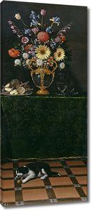 Хуан Ван дер Хамен.Натюрморт с вазой с цветами и собачкой