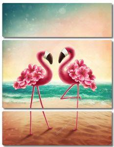 Два фламинго на пляже