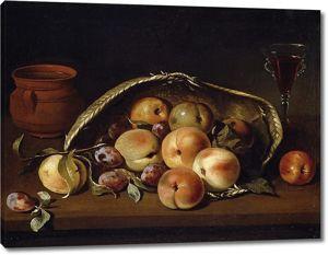 Педро ди Кампробин. Корзина с персиками и сливами