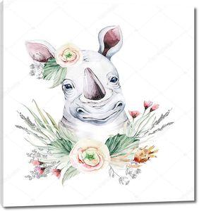 Носорог с цветами