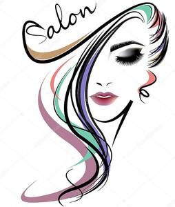 женщины длинные волосы стиль икона, логотип женщины лицо на белом фоне