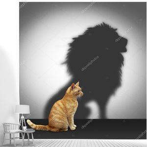 кошка с тенью Лев